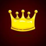 Desenhos animados da coroa na obscuridade - fundo vermelho Fotografia de Stock Royalty Free