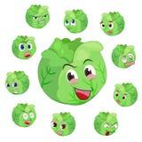Desenhos animados da couve com muitas expressões Fotos de Stock