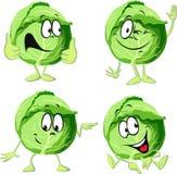 Desenhos animados da couve verde isolados no branco ilustração stock