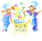 Desenhos animados da criança do projeto de cartão do menu das crianças Imagens de Stock Royalty Free
