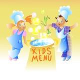 Desenhos animados da criança do projeto de cartão do menu das crianças Fotografia de Stock Royalty Free