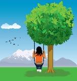 Desenhos animados da criança no balanço Fotos de Stock Royalty Free