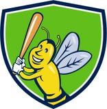 Desenhos animados da crista da batedura do jogador de beisebol da abelha de assassino Fotos de Stock