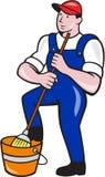 Desenhos animados da cubeta de Cleaner Holding Mop do guarda de serviço ilustração do vetor