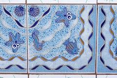 Desenhos animados da decoração do cavalo marinho da concha do mar da estrela do mar dos peixes da telha Imagem de Stock Royalty Free