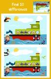 Desenhos animados da educação para encontrar 10 diferenças Imagem de Stock
