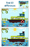Desenhos animados da educação para encontrar 10 diferenças nas imagens das crianças Fotografia de Stock