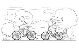 Desenhos animados da equitação do homem e da mulher ou da menina e do menino na bicicleta ilustração do vetor