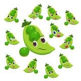 Desenhos animados da ervilha com muitas expressões Fotos de Stock