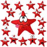 Desenhos animados da estrela do Mar Vermelho Fotos de Stock