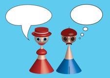 Desenhos animados da fala do homem e da mulher Imagens de Stock Royalty Free