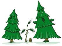 Desenhos animados da família da árvore de pinho Fotografia de Stock Royalty Free