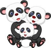 Desenhos animados da família do urso de panda ilustração do vetor