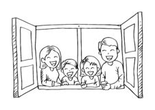 Desenhos animados da família feliz na janela aberta ilustração royalty free