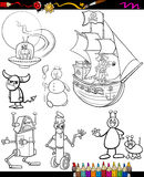 Desenhos animados da fantasia ajustados para o livro para colorir Fotografia de Stock