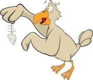Desenhos animados da gaivota e dos peixes Imagens de Stock