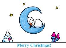 Desenhos animados da lua do sono do caráter do boneco de neve do Natal Fotos de Stock