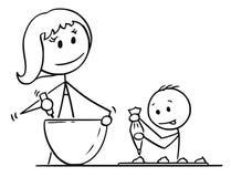 Desenhos animados da mãe e do filho que cozinham ou que cozem junto ilustração do vetor