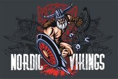 Desenhos animados da mascote do norseman de Viking com moca e Fotos de Stock