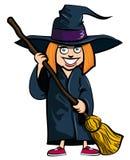 Desenhos animados da menina em um traje das bruxas ilustração stock
