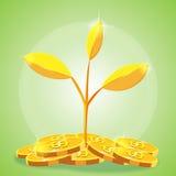 Desenhos animados da moeda de ouro da árvore Ilustração do Vetor