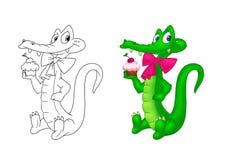 Desenhos animados da página da coloração do feriado do crocodilo Imagem de Stock Royalty Free