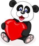 Desenhos animados da panda com forma vermelha do coração Fotos de Stock Royalty Free