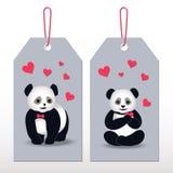 Desenhos animados da panda das etiquetas ilustração do vetor