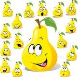 Desenhos animados da pera com muitas expressões Fotos de Stock