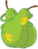 Desenhos animados da pera que abraçam e que beijam Imagens de Stock
