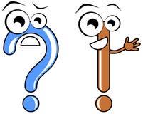 Desenhos animados da pergunta e da marca de exclamação Imagens de Stock Royalty Free