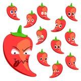 Desenhos animados da pimenta quente com muitas expressões Foto de Stock Royalty Free