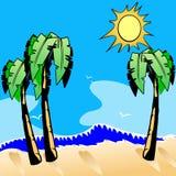 Desenhos animados da praia do oceano. ilustração do vetor
