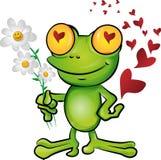 Desenhos animados da rã no amor Foto de Stock