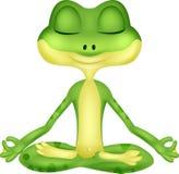 Desenhos animados da rã que fazem a ioga Fotografia de Stock