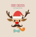 Desenhos animados da rena do Feliz Natal Fotos de Stock