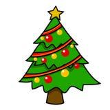 Desenhos animados da árvore de Natal. Imagens de Stock