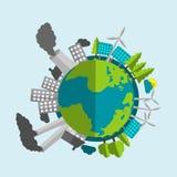 Desenhos animados da terra do planeta - metade enchida com as fontes de energia e a natureza renováveis - metade com indústria e  Fotos de Stock