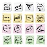 Desenhos animados da tração da mão nas etiquetas de papel da nota Fotografia de Stock Royalty Free