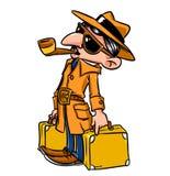Desenhos animados da viagem do dever da missão do homem de negócio ilustração royalty free