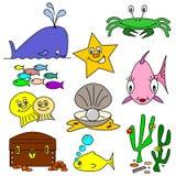 Desenhos animados da vida marinha Imagens de Stock