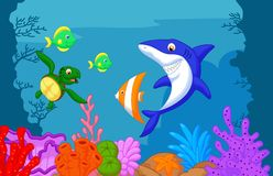 Desenhos animados da vida marinha Fotos de Stock Royalty Free
