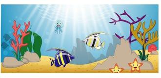 Desenhos animados da vida marinha com grupo da coleção dos peixes ilustração do vetor