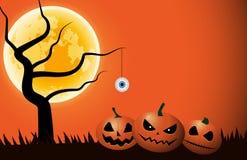 Desenhos animados das abóboras, do globo ocular e da árvore na noite do Dia das Bruxas ilustração do vetor