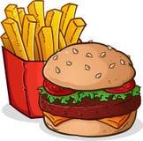 Desenhos animados das batatas fritas do cheeseburger ilustração royalty free