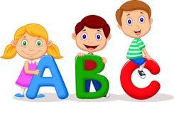 Desenhos animados das crianças com alfabeto de ABC Imagens de Stock Royalty Free