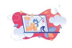 Desenhos animados das ferramentas de análise técnica de Cryptocurrency ilustração do vetor