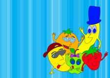 Desenhos animados das frutas Fotos de Stock