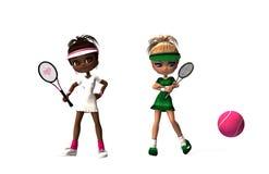 Desenhos animados das meninas do tênis Fotos de Stock Royalty Free