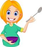 Desenhos animados das mulheres gravidas que apresentam como ao cozimento Imagem de Stock Royalty Free